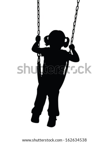 Vector Silhouette of a little girl on a swing