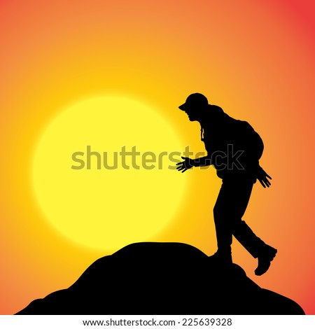 Vector silhouette of a man in nature at sunset.