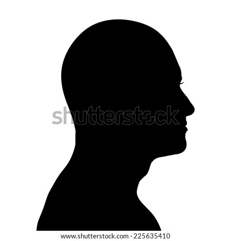 Vector silhouette of a man in profile on a white background.