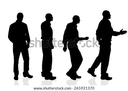 Vector silhouette of a man on a white background. - stock vector