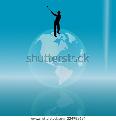 Vector silhouette of a man playing golf on the globe.