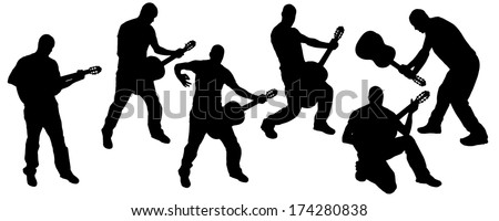 vector silhouette of a man playing guitar