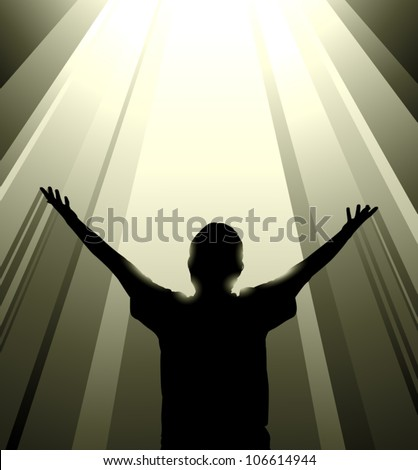 Vector silhouette of a man reaching up toward a column of light from above, possibly symbolizing salvation or some transcendent experience.