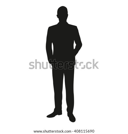 Vector silhouette of a man standing in a suit at the lecture. Businessman, teacher, lawyer, merchant, dealer manager, engineer, politician, presenter, actor