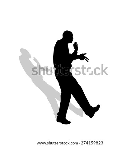 Vector silhouette of a man who dance.