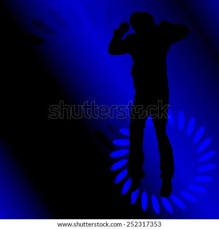 Vector silhouette of a man who dances between the lights.