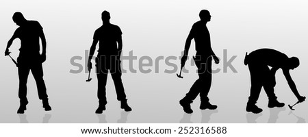 Vector silhouette of a man who is a worker and has the tools.