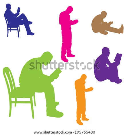 Vector silhouette of a man who is reading a book. - stock vector