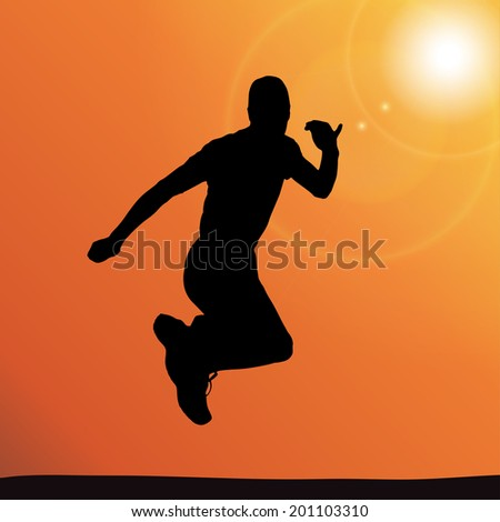 Vector silhouette of a man who jump.  - stock vector