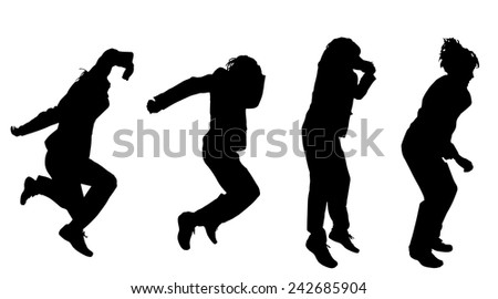 Vector silhouette of a man who jump on a white background.
