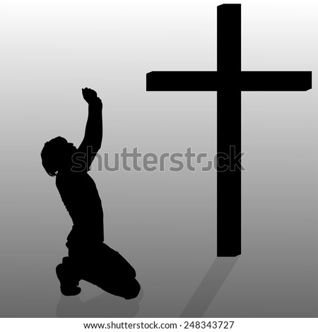 Vector silhouette of a man who kneels in front of a cross.