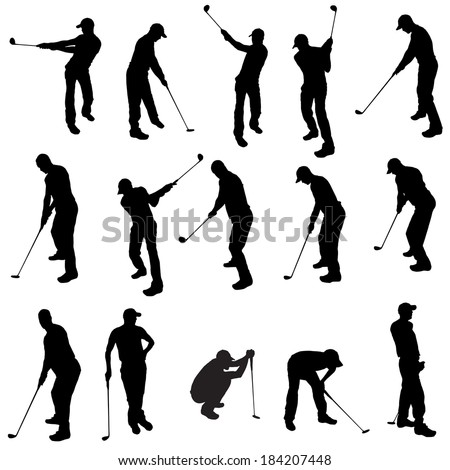 Vector silhouette of a man who plays golf. - stock vector