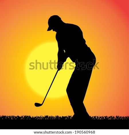 Vector silhouette of a man who plays golf on an orange background.