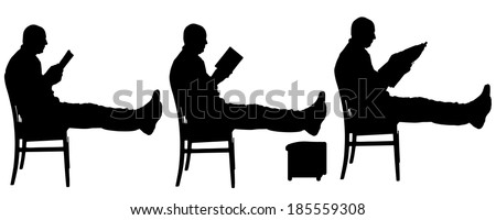 Vector silhouette of a man who reads a book. - stock vector
