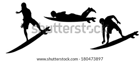 Vector silhouette of a man who surfs.