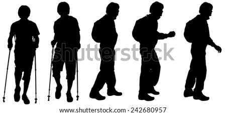 Vector silhouette of a man who walks with Nordic walking.