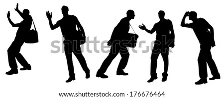 Vector silhouette of a man with a bag on a white background.  - stock vector