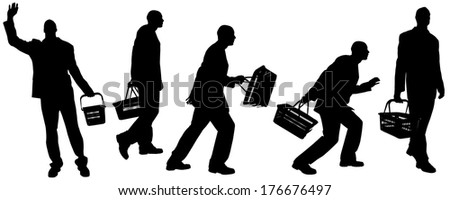 Vector silhouette of a man with a bag on a white background.