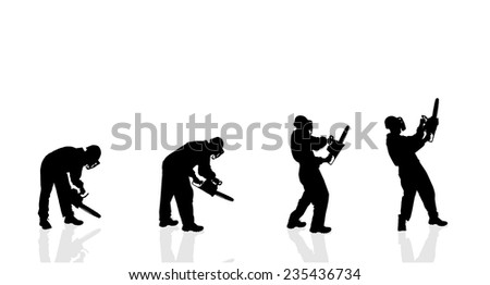 Vector silhouette of a man with a chainsaw on a white background.