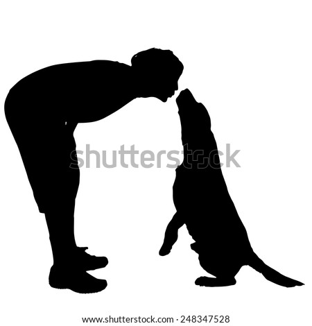 Vector silhouette of a man with a dog on a white background. - stock vector
