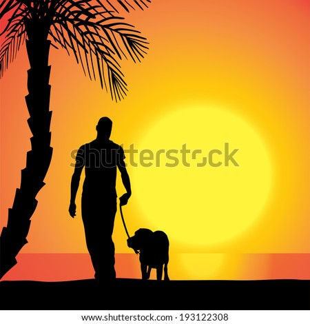 Vector silhouette of a man with a dog on the beach at sunset. - stock vector