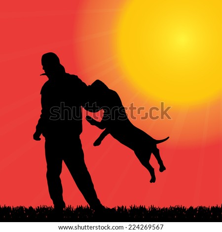 Vector silhouette of a man with a dog who practice defense.
