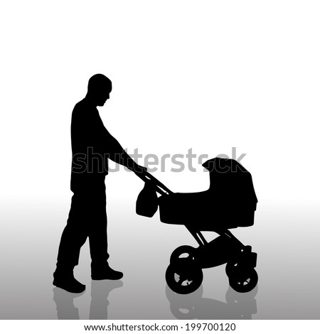 Vector silhouette of a man with a pram on a white background. - stock vector