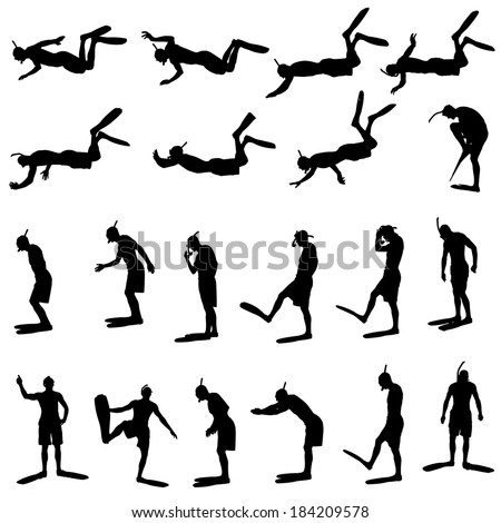 Vector silhouette of a man with flippers and a snorkel.