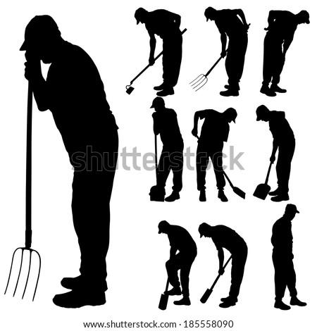 Vector silhouette of a man with garden tools. - stock vector