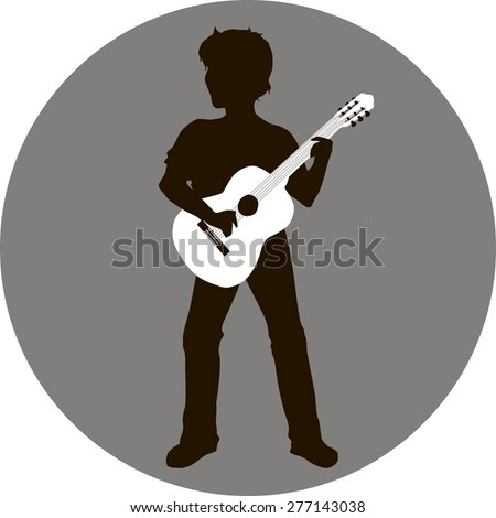 Vector silhouette of a man with guitar in hand