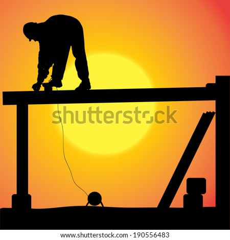 Vector silhouette of a man working with tools at sunset.
