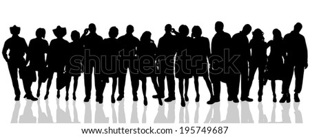 Vector silhouette of a people on a  white background.