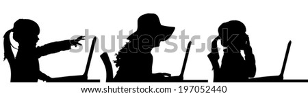 Vector silhouette of a people sitting at a computer on a white background.