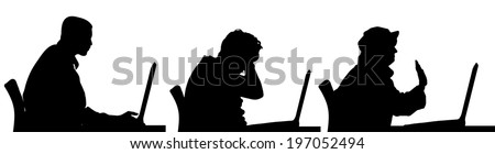 Vector silhouette of a people sitting at a computer on a white background. - stock vector