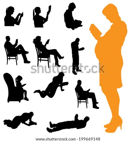 Vector silhouette of a people who are reading on white background. - stock vector