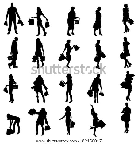 Vector silhouette of a people with shopping bags.