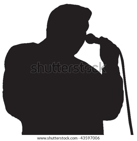 Vector silhouette of a person singing into a microphone.