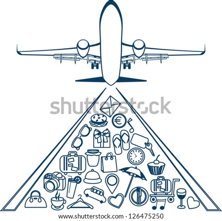 Vector silhouette of a plane. Elements of travel. Trip icons - stock vector