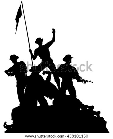 Vector silhouette of a platoon of soldiers erecting a flag.