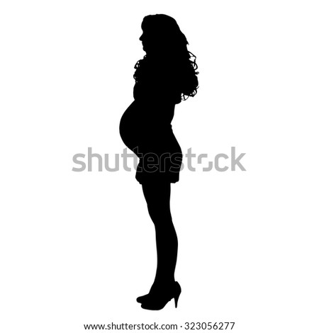 Vector silhouette of a pregnant woman on a white background.