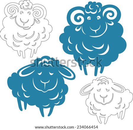 Vector silhouette of a ram and sheep. Provided linear version - stock vector
