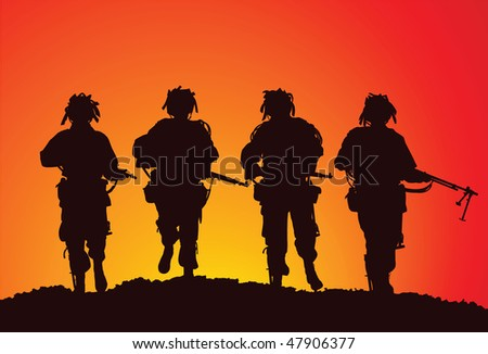 Vector silhouette of a small infantry group of the US Airborne - stock vector
