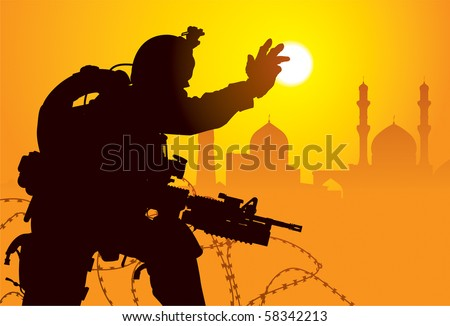 Vector silhouette of a soldier with mosques on the background - stock vector