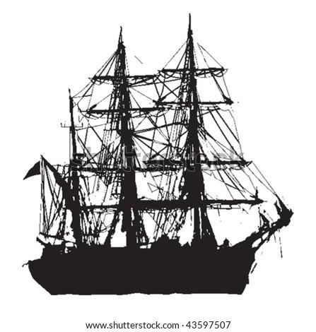Vector silhouette of a tall ship. - stock vector