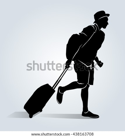 Vector silhouette of a tourist with a suitcase - stock vector