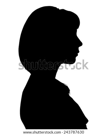 vector silhouette of a woman in profile - stock vector