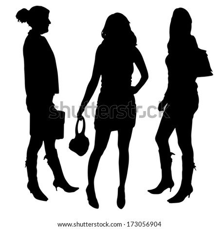 vector silhouette of a woman on a white background
