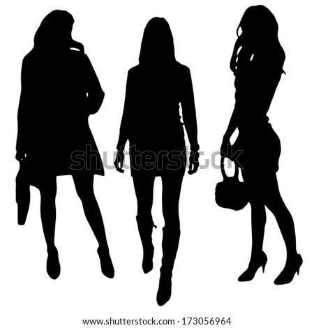 vector silhouette of a woman on a white background - stock vector