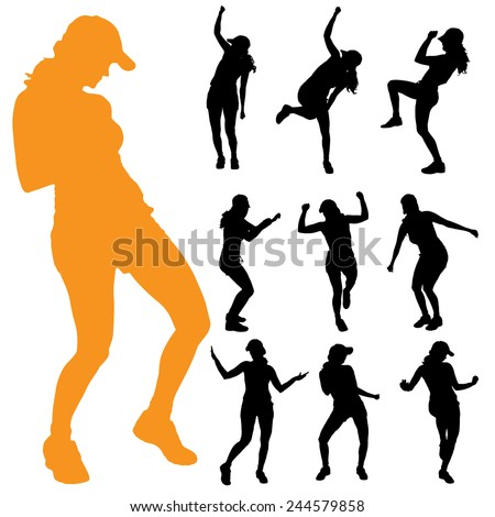 Vector silhouette of a woman on a white background. - stock vector