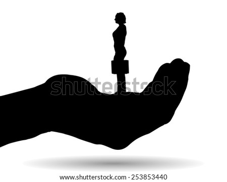 Vector silhouette of a woman on palm on white background. - stock vector